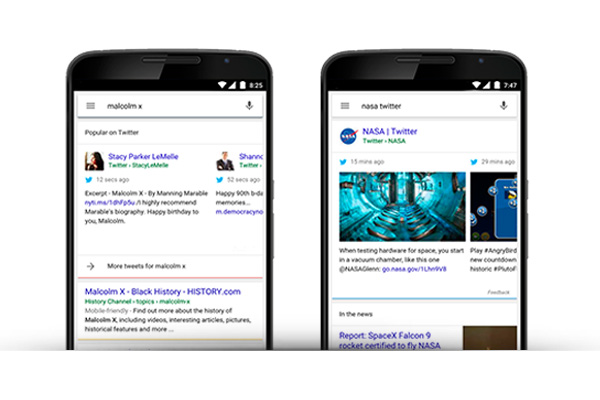 Tweets take flight in the Google app