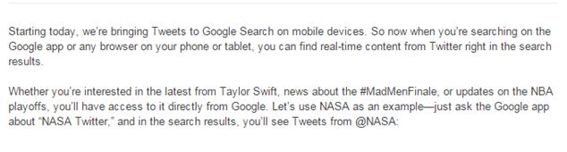 Google blog excerpt