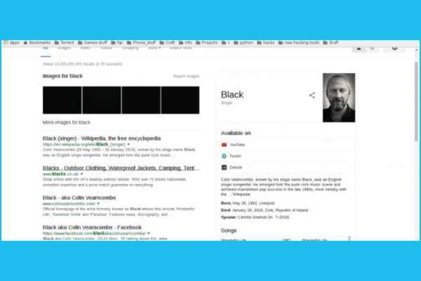 Google Testing Black Links in Search Results