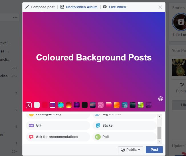 facebook coloured background posts screenshot