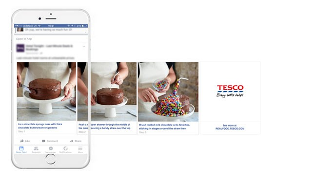tesco facebook mobile ad screenshot