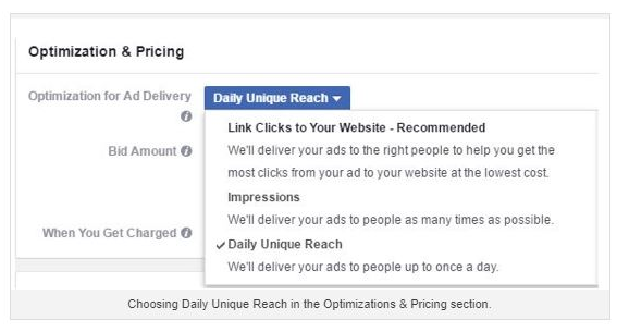facebook ad optimization and pricing screenshot